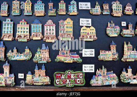 Prague, Czech Republic - June 29, 2013: Souvenir ceramic magnets for sale on Charles Bridge. - Stock Photo