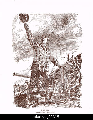 Punch Cartoon Canada at Ypres April 23-24 1915 - Stock Photo