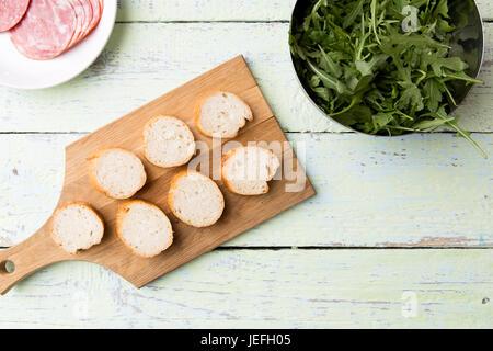 Photo of cut loaf, ham - Stock Photo