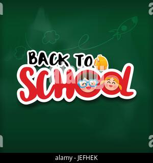 Calligraphy title back to school sticker style with shadow over green black board vector illustration - Stock Photo