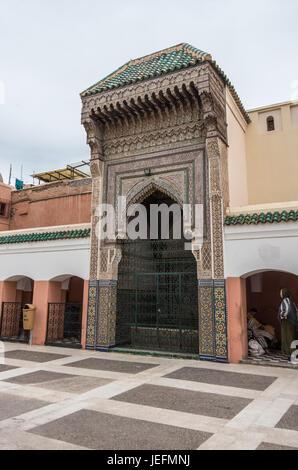 Marrakesh, Morocco - May 3, 2017: Courtyard of mosque Zaouia de Sidi Bel Abbes in Marrakech medina, Morocco - Stock Photo
