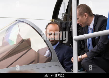 PARIS, FRANCE - JUN 23, 2017: French Prime Minister Edouard Philippe in the cockpit of a Rafale fighter jet during - Stock Photo
