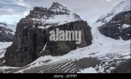 Plain of Six Glaciers at end of great hiking trail above Lake Louise in Banff National Park looking to Abbott Pass - Stock Photo
