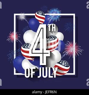 vector illustration 4th of july celebration background design with balloon and fireworks american independence day square banner