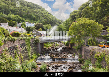 12 June 2017: Glen Lyn Gorge, Lynmouth, Devon, England, UK - A view of the gorge on a sunny summer day. - Stock Photo
