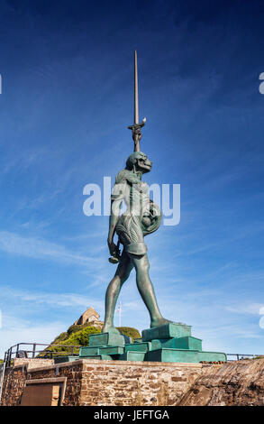 14 June 2017: Ilfracombe, North Devon, England, UK - Verity, by Damien Hirst, which stands at the entrance to the - Stock Photo