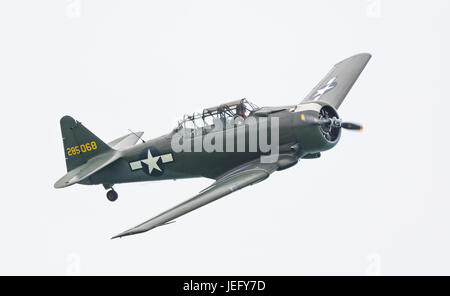 North American Aviation T-6 Texan advanced training single propeller military aircraft. - Stock Photo