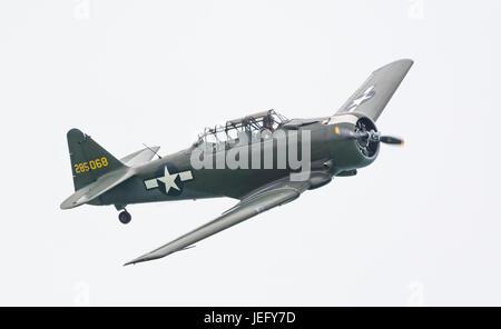 North American Aviation T-6 Texan advanced training single propeller military aircraft. - Stock Photo