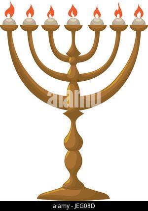Jewish Chandelier menorah - Stock Photo