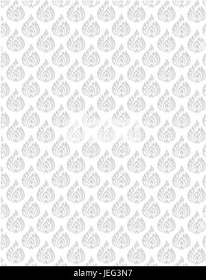 beautiful gray Thai pattern seem floral, fern, leave, lotus and fire pattern on white background for page and ground - Stock Photo