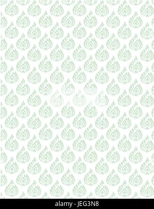 beautiful green Thai pattern seem floral, fern, leaves, lotus and fire pattern on white background for page and - Stock Photo