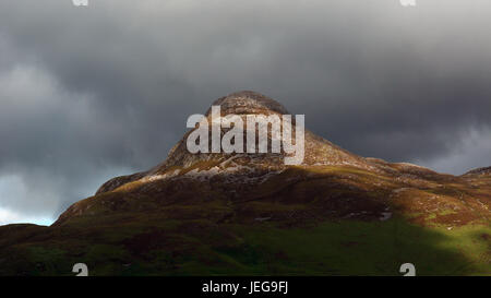 Close-up, telephoto, of the stunning Pap of Glencoe from Ballachulish, Glencoe, Scotland on an overcast day with - Stock Photo