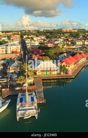 St Johns waterfront.  St Johns is the capital of the island of Antigua, one of the Leeward Islands in the West Indies. - Stock Photo