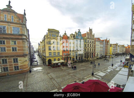 Long Market street (Polish: Dlugi Targ) in Gdansk, Poland. Famous pedestrianised street lined with scenic Renaissance - Stock Photo
