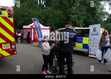 Stoke on Trent,Staffordshire,UK. 24th June, 2017. Staffordshire Police preventing hate crime by giving bracelets - Stock Photo