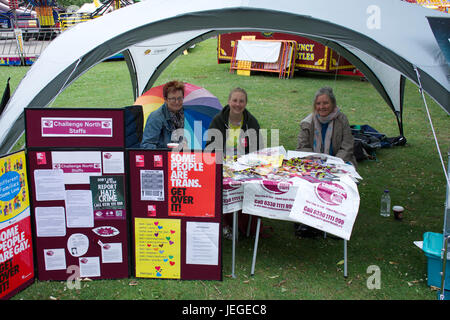 Stoke on Trent, UK. 24th June, 2017. Stoke on Trent pride event in Hanley Park, Three  woman on Challenge North - Stock Photo