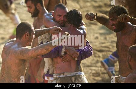 Florence, Italy. 24th June, 2017. Players celebrate after winning the final match of the Calcio Storico Fiorentino - Stock Photo