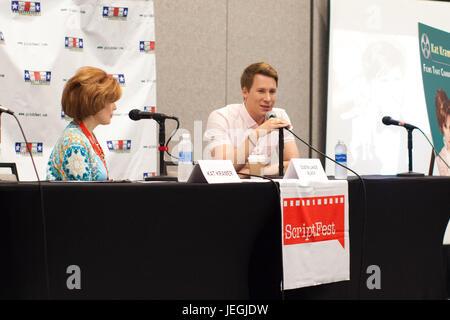 Burbank, California, USA. 24th June, 2017. Katharine 'Kat' Kramer interviews Academy Award winning screenwriter - Stock Photo
