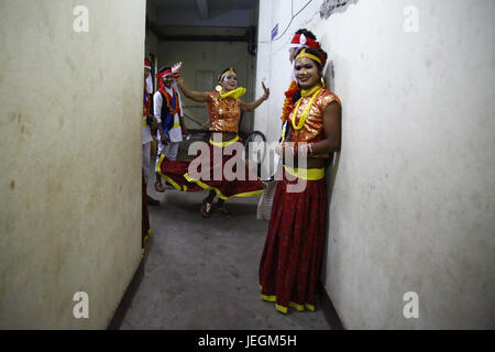 Kathmandu, Nepal. 25th June, 2017. Nepalese transgender dressed in traditional attire rehearse backstage before - Stock Photo