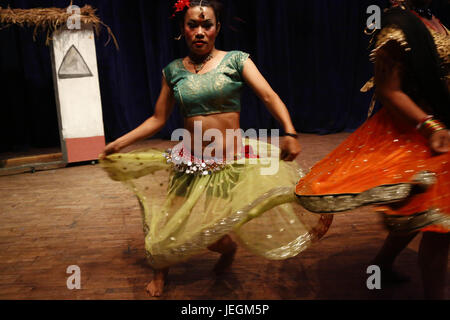 Kathmandu, Nepal. 25th June, 2017. Nepalese transgender perform a traditional dance on a stage during a cultural - Stock Photo