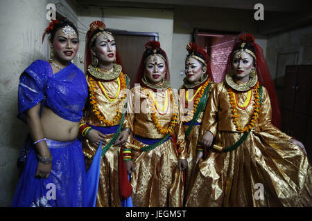 Kathmandu, Nepal. 25th June, 2017. Nepalese transgender dressed in traditional attire pose for a picture backstage - Stock Photo