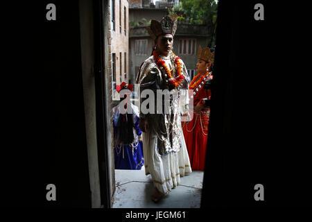 Kathmandu, Nepal. 25th June, 2017. A Nepalese transgender walks in to take part in a cultural dance program in Kathmandu, - Stock Photo