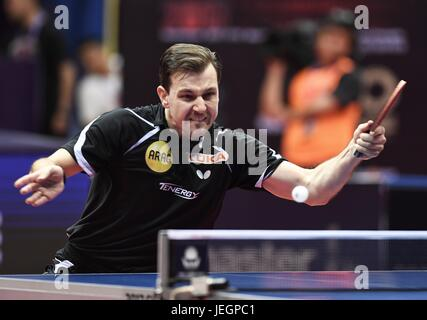 Chengdu, China's Sichuan Province. 25th June, 2017. Timo Boll of Germany returns the ball during the men's singles - Stock Photo