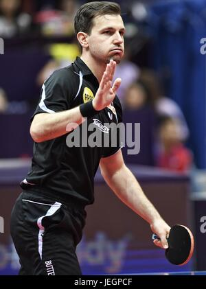 Chengdu, China's Sichuan Province. 25th June, 2017. Timo Boll of Germany reacts during the men's singles final against - Stock Photo