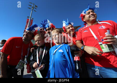Moscow, Russia. 25th June, 2017. Supporters of Chile before a 2017 FIFA Confederations Cup First Group B football - Stock Photo