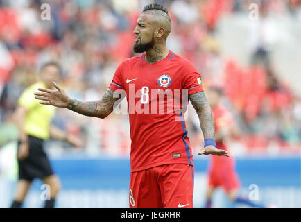 Moscow, Russia. 25th June, 2017. Chile's Arturo Vidal in their 2017 FIFA Confederations Cup First Group B football - Stock Photo