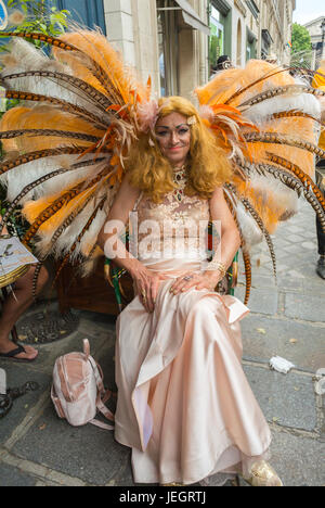 Paris, France, French Gay Pride March, Asian Transvestite in Costume on Street - Stock Photo