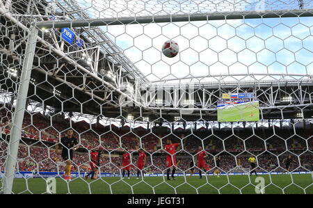 Moscow, Russia. 25th June, 2017. Chile concedes a goal to Australia in their 2017 FIFA Confederations Cup First - Stock Photo