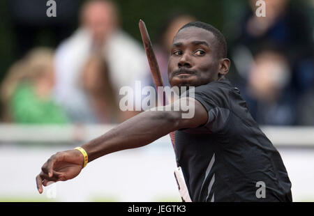 Ratingen, Germany. 25th June, 2017. Kurt Felix of Grenada in action at the javelin throwing of the decathlon during - Stock Photo