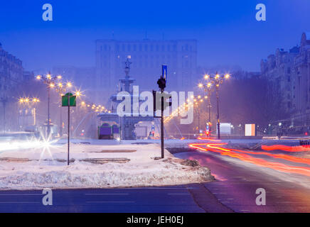 Bucharest city at night, Romania - Stock Photo
