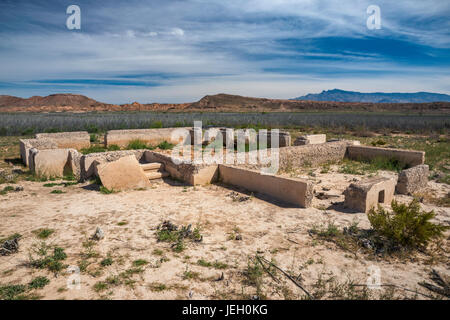 Foundation of house in St Thomas, ghost town submerged under Lake Mead for many years, now exposed, Lake Mead National - Stock Photo