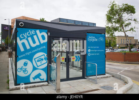 Cycle hub for bicycle parking adjacent to Bury Interchange tram and bus station, Bury, Greater Manchester, UK - Stock Photo