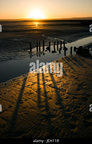 Grange-over-Sands beach sunset, near the Lake District. The low sun creating shadows. wooden stakes may have been - Stock Photo