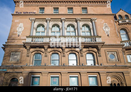 The Westin Hotel building and branch of Allied Irish Bank, Dublin city centre, Ireland - Stock Photo