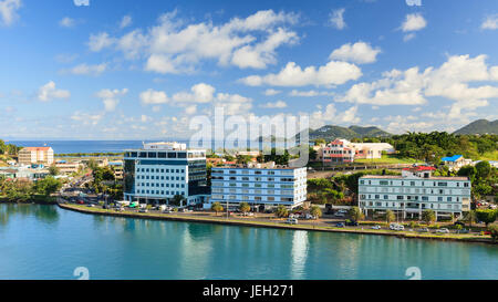 Castries waterfront.  Castries is the capital of the island of St Lucia, one of the Windward Islands in the West Indies.