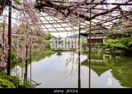 Japanese garden Heian Jingu, showing the guest house and covered bridge. - Stock Photo