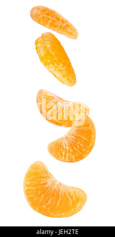 Isolated falling orange segments. Five peeled pieces of orange or tangerine fruit in the air isolated on white background - Stock Photo