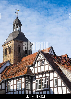City Tecklenburg with church and half-timbered houses, Germany - Stock Photo