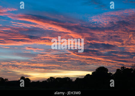 Spectacular sunset over farmland near Kakadu, Northern Territory, Australia. - Stock Photo
