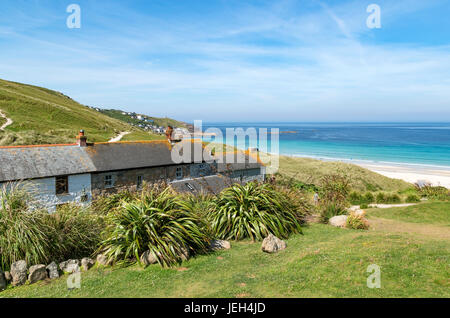 holiday cottages at vellandreath near sennen cove in cornwall, england, britain, uk. - Stock Photo