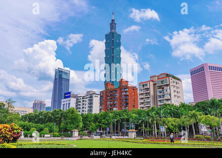 TAIPEI, TAIWAN - MAY 31: This is view of Taipei 101 and Xinyi financial district architecture taken from the gardens - Stock Photo