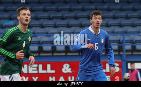 Mourneview Park, Lurgan. 05 March 2014. UEFA U21 Championship 2013-2015 Group 9 - Northern Ireland 0 Italy 2. Italy's - Stock Photo