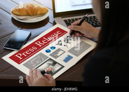 Press Release  concept, Thoughtful male person looking computer - Stock Photo
