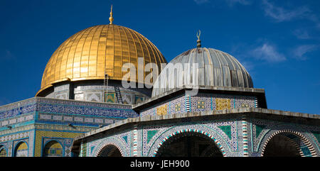 Temple Mount and Dome of the Rock, Old City of Jerusalem; Jerusalem, Israel - Stock Photo