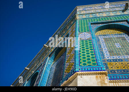 Facade of the Temple Mount and Dome of the Rock, Old City of Jerusalem; Jerusalem, Israel - Stock Photo
