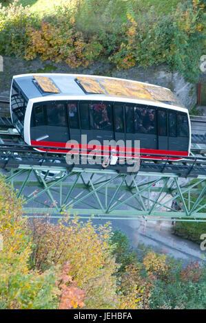 Castle funicular,Hohensalzburg fortress  Salzburg - Stock Photo